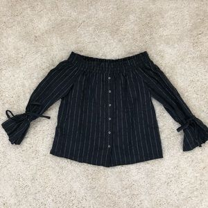 Lucky Brand Tops - Lucky Brand Off The Shoulder Striped Long Sleeve